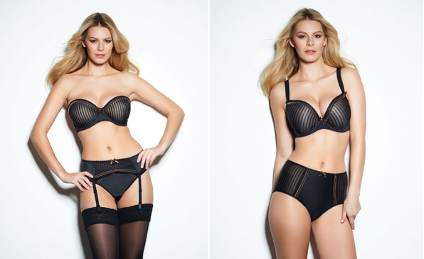 Taylor Set by Freya, including plunge bra, strapless bra, brief, thong, suspender, and high-waisted short