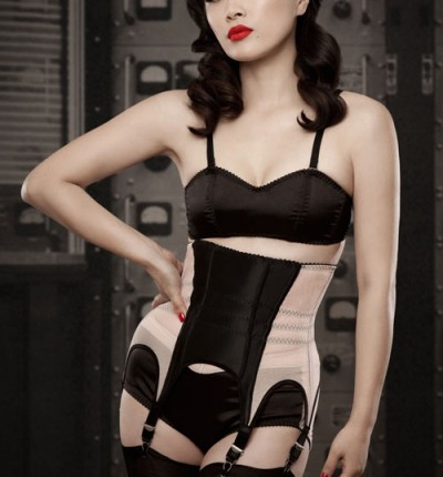 """""""Amy"""" Cincher. Classic colors and style, complete with six suspenders."""