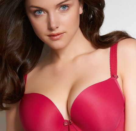 """Deco"" molded plunge bra, available in blacke and beige as well as seasonal colors.  Sizes 28-38 B-GG (some exceptions)."