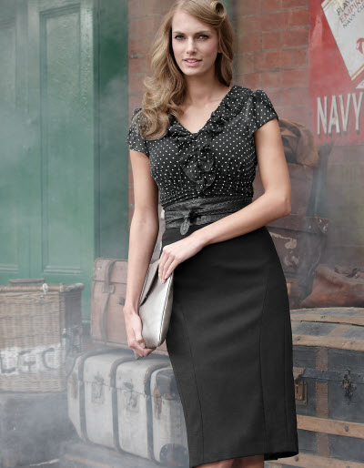 Chiffon Spot Blouse and Pleated Pencil Skirt.  Blouse available in sizes 08-18 Curvy, Really Curvy, and Super Curvy.  £45.00 (about $72.00 USD).  Skirt available in sizes 08-18 (UK).  £45.00 (about $72.00 USD)