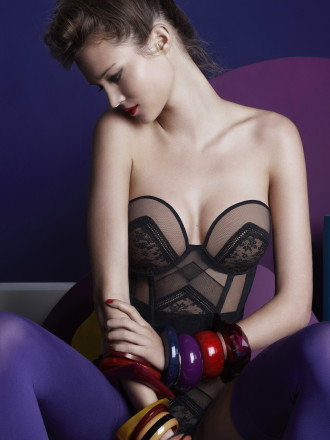 """""""Rumeur"""" longling bra by Huit.  Available in sizes 32-36 A-D.  $110.  Coordinating short, thong, high-waisted panty and bra available."""