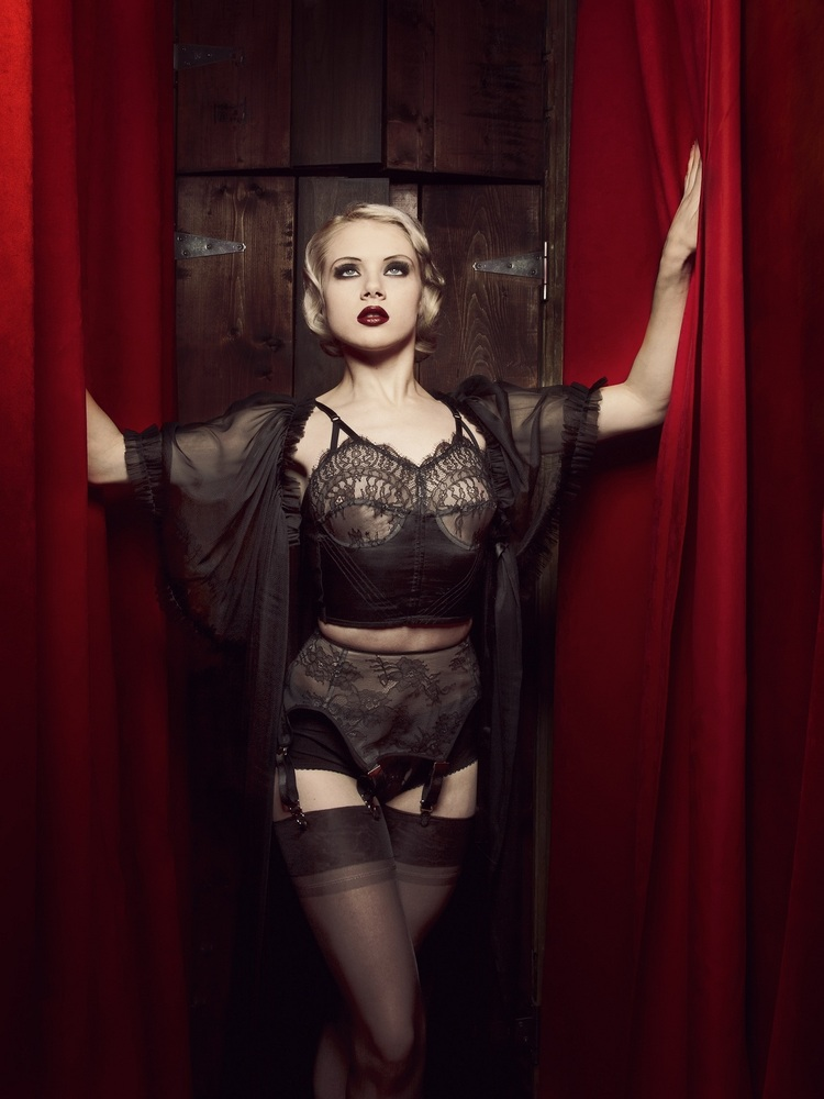Bricolage Longline Bra, Garter Belt, and Knickers, Long Sheer Dressing Robe.  All by Dottie's Delights.  Bra ($225) 32-34 A-D, Garter Belt ($125) and Knicker ($85) XS-XL, Robe ($170) One Size.