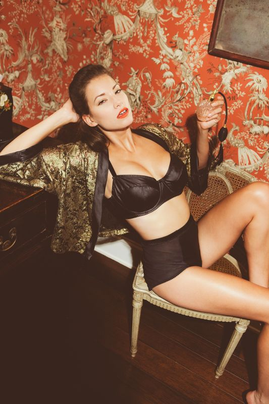 """Lolita"" bra and high-waist brief with ""Sara"" kimono jacket by Sunday Intimates"