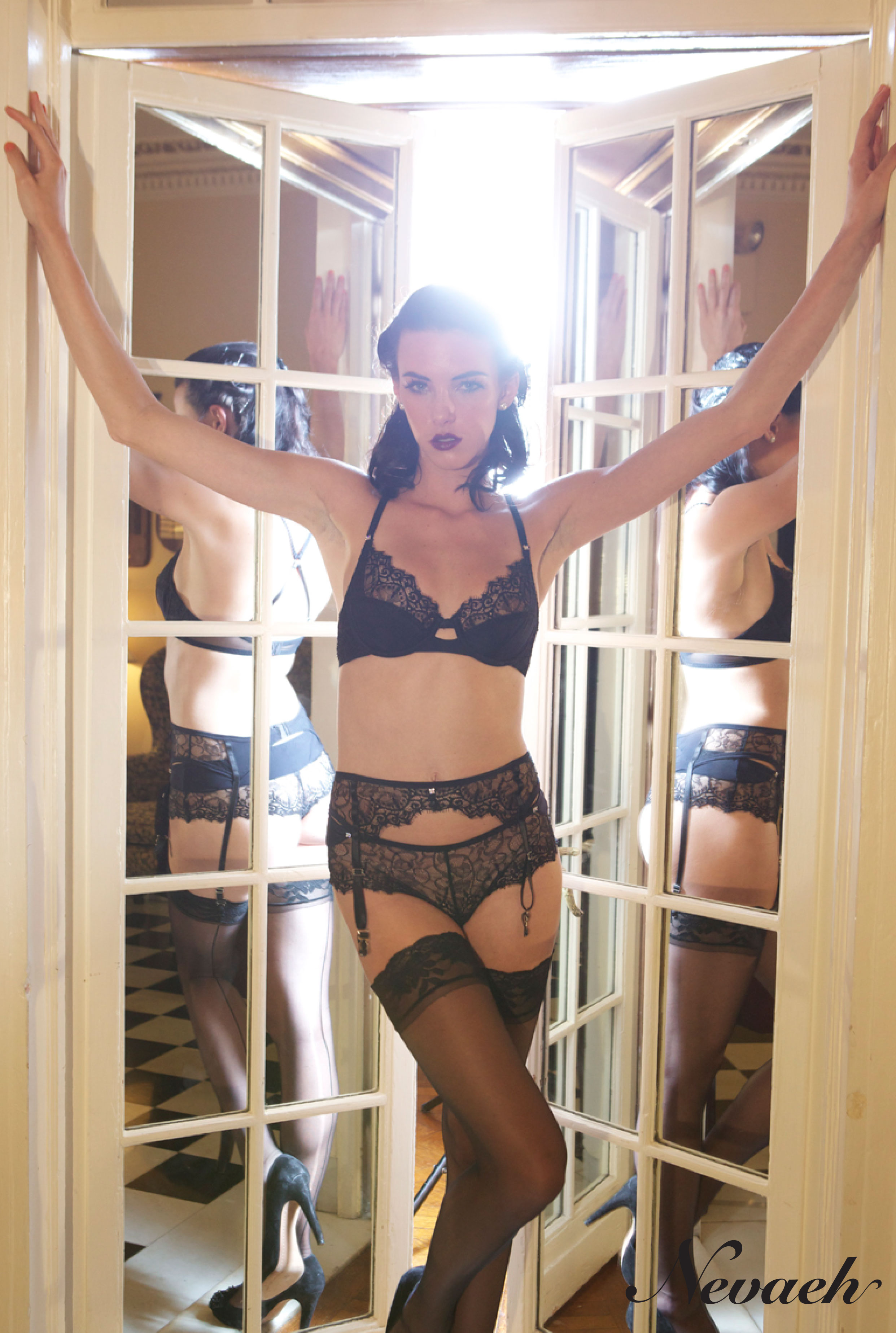 """""""Obsession"""" Lace Bra, Brief, and Suspender Belt by Nevaeh Intimates Fall/Winter 2013"""