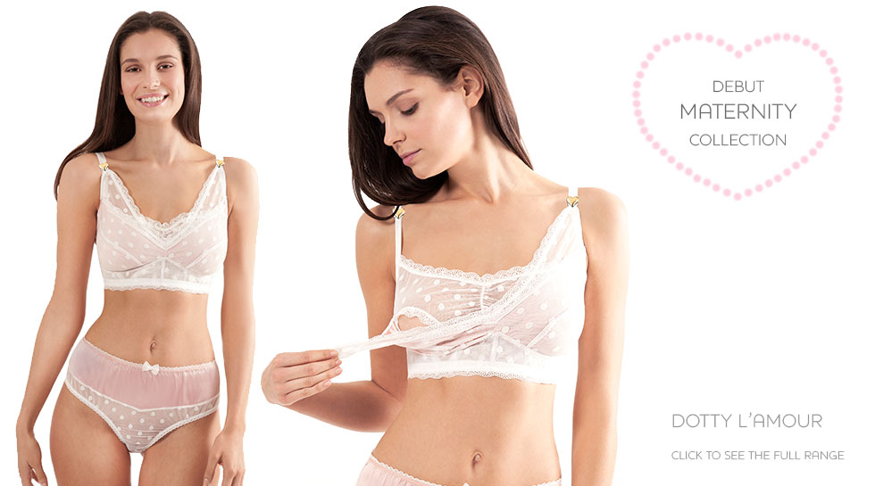"""""""Dotty L'Amour"""" silk satin maternity bra by Mimi Holliday ($95.85). Sizes 32-36 D-FF (UK cup sizes)"""