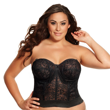 Goddess Lace Bustier, available in black, white, and ivory.  Sizes 34-50 B, C, D, DD, F, FF (I have NO idea why they've done the cup sizes like this.  It translates to B, C, D, E, F, G in European sizes, and B, C, D, DD, E, F in UK sizes.  Good luck)