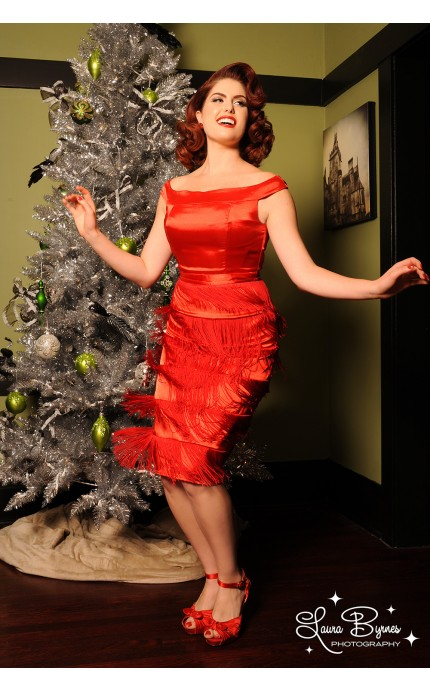 """Just STOP IT, Dress.  Stop being so danged awesome.  """"Gastby Fringe Dress"""" in red by Pinup Girl Clothing ($130), available in sizes XS-3X."""