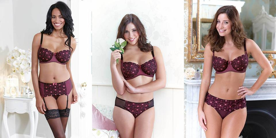 """""""Hearts Amour"""" collection by Bravissimo.  Half cup bra (£34.00) in sizes 28-38 DD-HH, brief (£16.00), thong (£14.00), and suspender belt (£16.00) in sizes XS-2XL"""