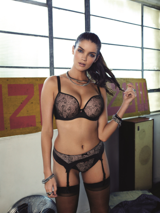 """Deco Darling"" by Freya. Plunge Bra AND Strapless Bra in sizes 32-38 B, C; 28-38 D-G; 28-36 GG. Brief, Short, Thong sizes XS-XL, Suspender sizes S-XL."