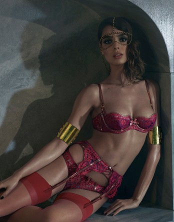 From Agent Provocateur's A/W14 Soiree collection. That glittering trim encasing the underwire? Metallic stretch leather.
