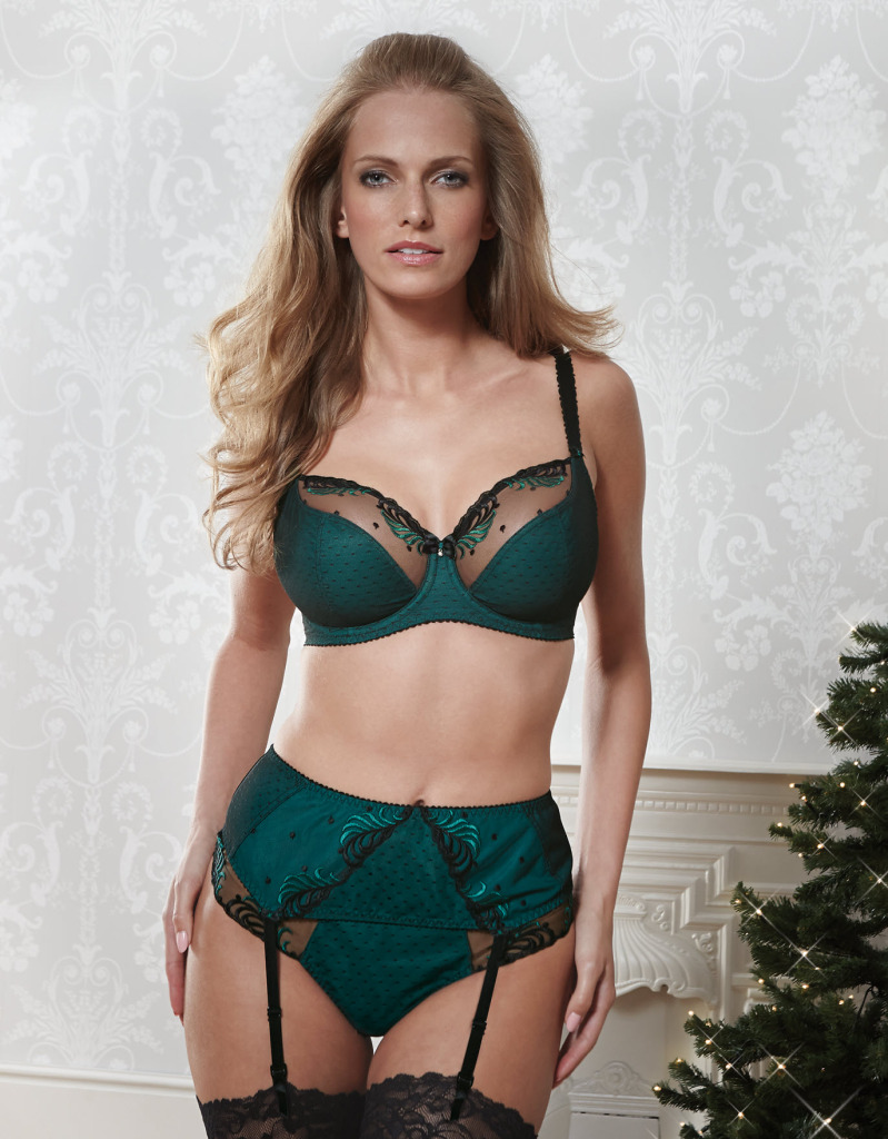 Can Can Bra (£34) (28 F-J, 30-38 DD-K), Brief (£16) (XS-XXL), and Suspender Belt (£18) (XS-XXL) by Bravissimo