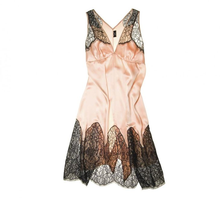 Deco Lace Chemise ($445) (S, M, L) in Peach by Between the Sheets