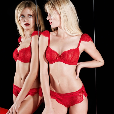 Nouvel Emoi Half Cup Bra ($74) (32-36 B-F, 38 B-E) and Short ($48) (XS-XL) in Poppy by Huit