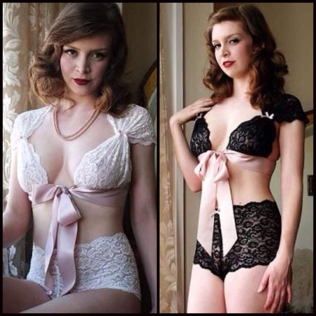 Juliet Ribbon Bralette ($44) and Lace Ouvert Ribbon Boyshort ($36) in Ivory and Black by Dollhouse Bettie