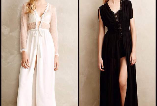 Iced Ivory Peignoir by Flora Nikrooz ($125) and Lace Boudoir Robe by Fleur Wood ($250), both via Anthropologie