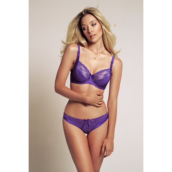Amelie bra (£46) (28-38 D-H) and brief (£28) (XS-XL) in Ultra Violet by Miss Mandalay