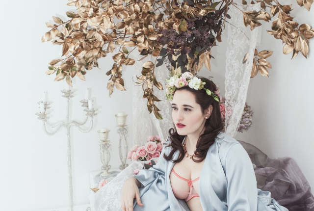 The Sweet Nothings Holiday Edit- The Sleeping Beauty. Lingerie by Claudette, LaLilouche, Stockingirl, photo by Lydia Hudgens, flowers by Mimosa Floral.