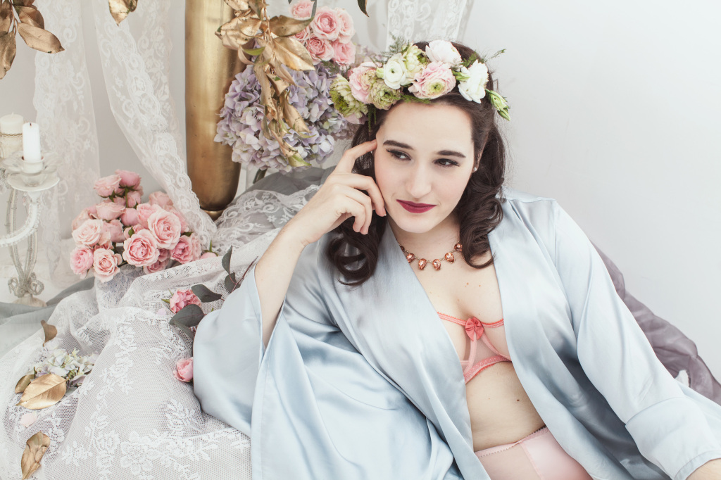 The Sweet Nothings Holiday Edit- The Sleeping Beauty. Lingerie by Claudette, LaLilouche, Cervin, photo by Lydia Hudgens, flowers by Mimosa Floral.