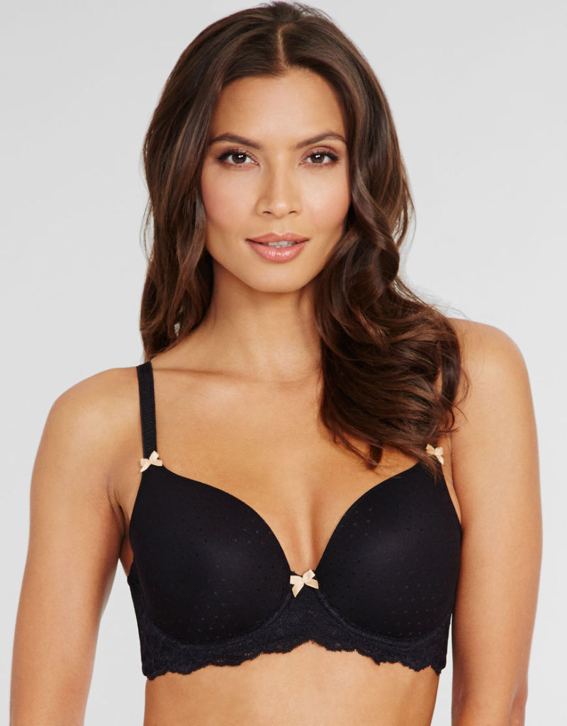 Talia T-Shirt Bra in Black by Just Peachy ($37). 30 C-GG, 32 B-GG, 34 B-G, 36 B-FF, 38 B-F.