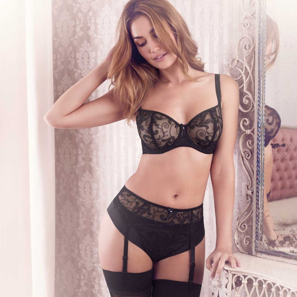Allegra vertical seam bra, suspender, and brief in black, 30-38 D-G. $76