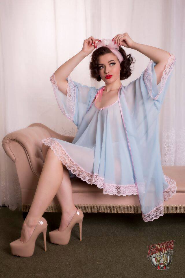 Joan Babydoll and Jayne Bed Jacket by My Retro Closet. Model: Frenchie L'amour, Photography: Kustomnemo photography