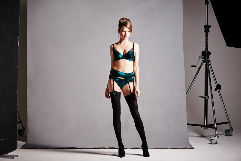 Figleaves Boudoir Tease Silk and Lace B-G Demi Padded Bra, Thong, and Suspender Belt ($77/$55/$61)