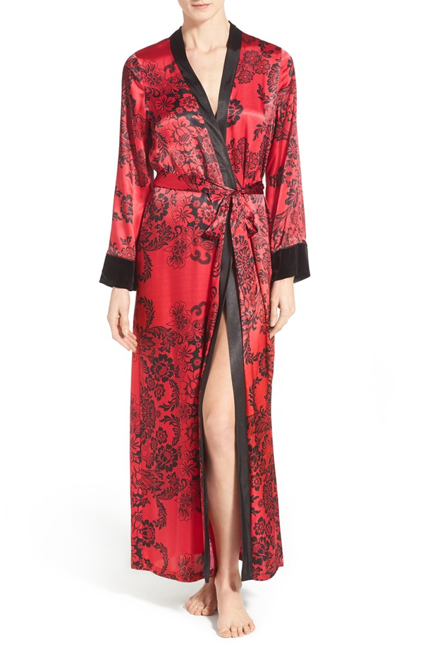 In Bloom by Jonquil Scarlet Print Satin Robe, XS-L
