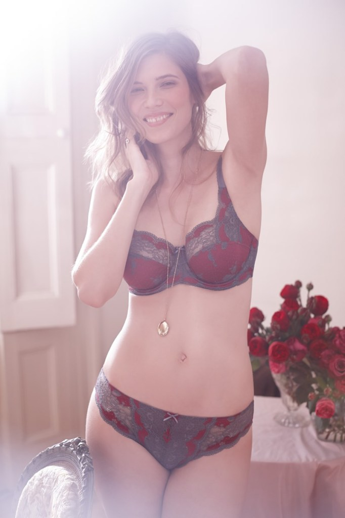 Clara bra and brief by Panache in Steel/Claret, 30-38 D-J