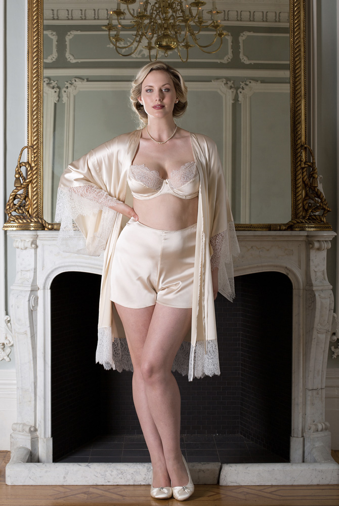 Harlow & Fox Eleanor Almond Kimono, Bra, and French Knicker