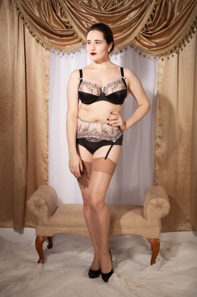 Sweet Nothings reviews Bravissimo Peony Bra, Short, and Suspender Belt. Photo: Studio Rezin
