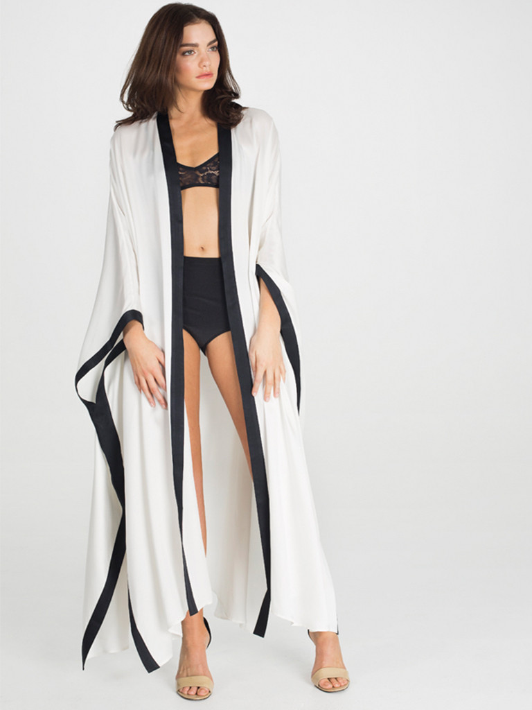 Dear Bowie Sheba Long 100% Silk Snow Robe (sizes S/M and M/L, also available in Hashtag)