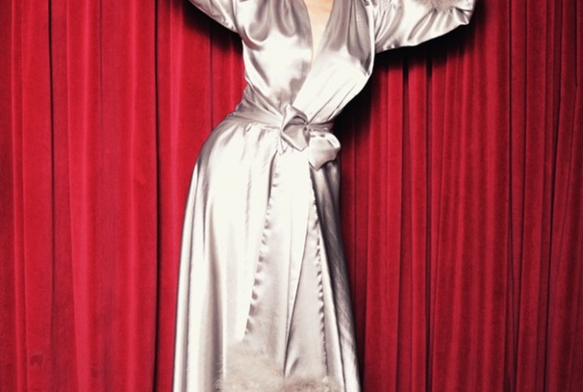 Boudoir by D'Lish Dita Von Teese Collection Holiday Dressing Gown in Celestial Silver (also in Bordeaux, my god I need it)