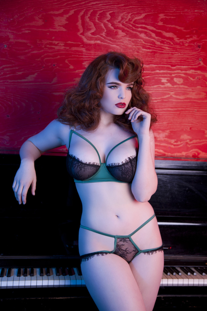 Playful Promises Tamara Forest Green Bra and Brief (core, curve and DD-G sizes)