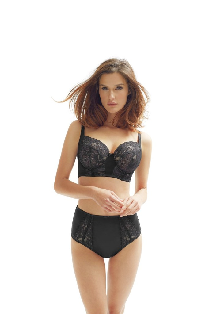 Panache Black Amara Longline Bra and High Waist Brief