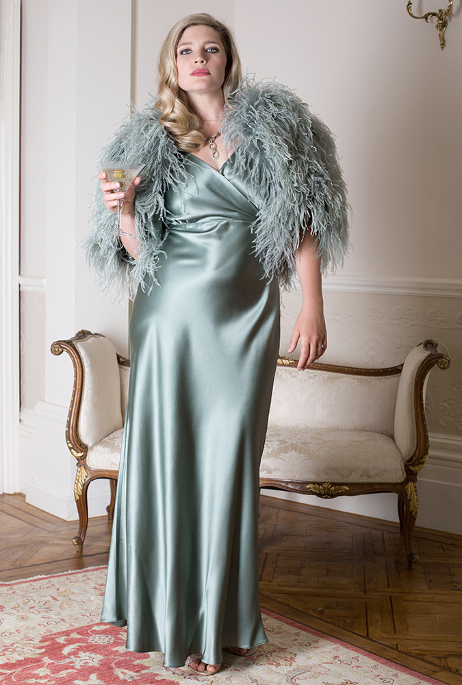 Harlow & Fox Vivienne Gown and Feather Capelet