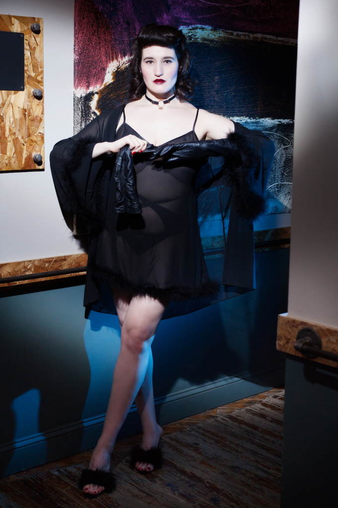 Sweet Nothings for Bluestockings Boutique, wearing Bettie Page Lingerie. Photo (c) Michi Rezin