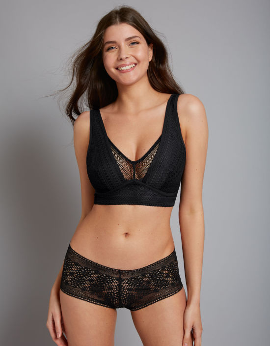 Bravissimo 'Zara' Bralette. This pretty lace style is Bravissimo's first ever own-brand non-wired bra, and it uses dual cup sizing to offer a flexible fit up to a UK H-cup.