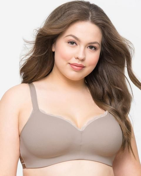 Curvy Couture Cotton Luxe Padded Wire-Free Bra, 34-44 C-H, available in Mauve Gray and Beige. Padding in the cup offers a bit more stability and lift than an unpadded wireless bra.