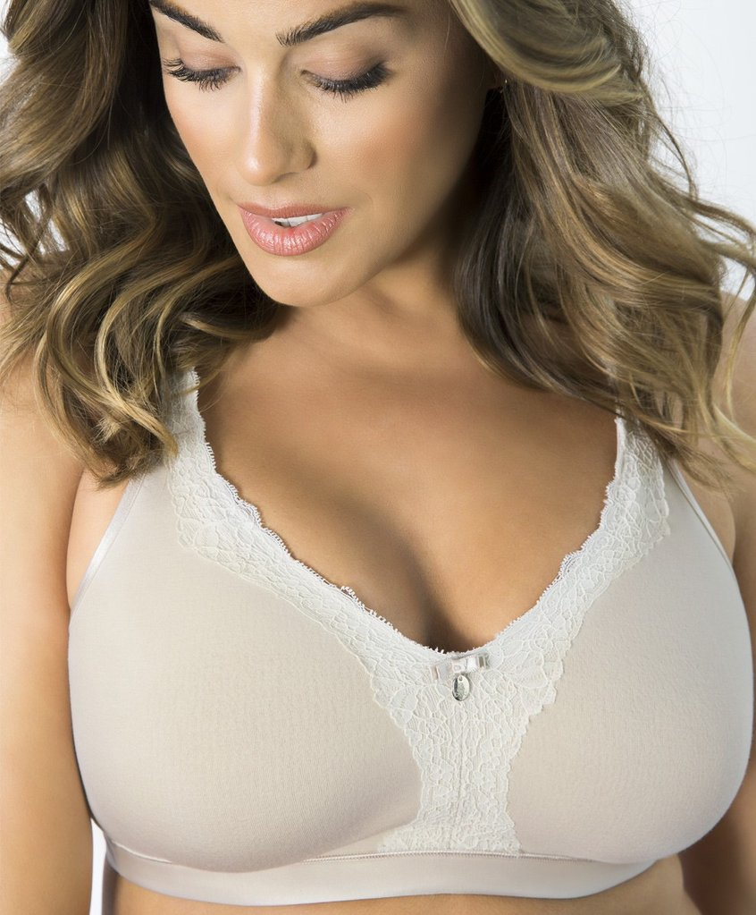 Curvy Couture Luxe Cotton Wireless Bra, 34-44 DD-H (US sizes).
