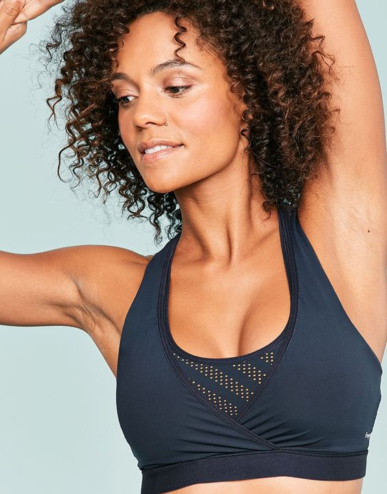 Freya 'Freestyle' Soft Crop Sports Bra, XS-XL. While this style may not work for high-impact sports, the crop top styling and racer back cut work nicely if you're looking for a cute sports bra for light exercise or lounging.