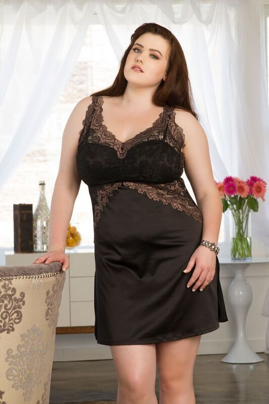 Tia Lyn core built-up chemise in Mocha (other colors available), Small-Large and 1X-3X