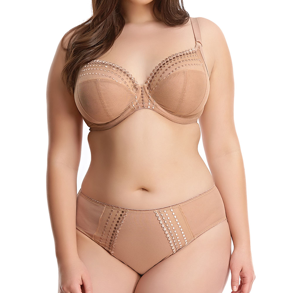 Elomi 'Matilda' in Cafe Au Lait (also available in black and seasonal colors). 32 GG-JJ, 34 G-JJ, 36-40 DD-JJ, 42 DD-HH, 44 DD-G, 46DD. Brief available in sizes S-4XL