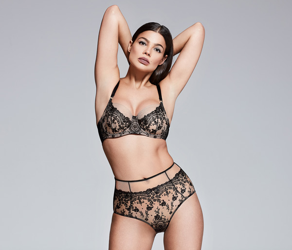 Katherine Hamilton Abrielle Black Bra and High-Waist Brief