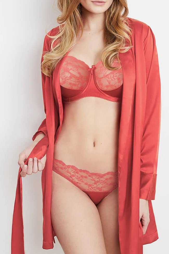 Katherine Hamilton Sophia Red Bra, Brief, and Robe