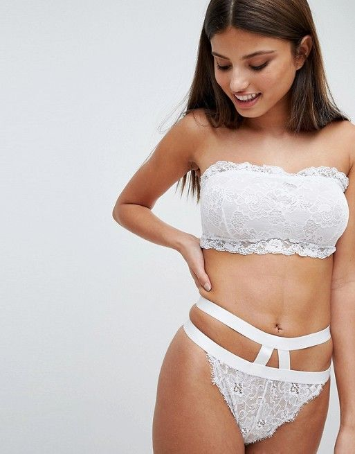 ASOS DESIGN Fuller Bust Lace Bandeau and hidden underwire bra, $23, 30-38 DD-HH