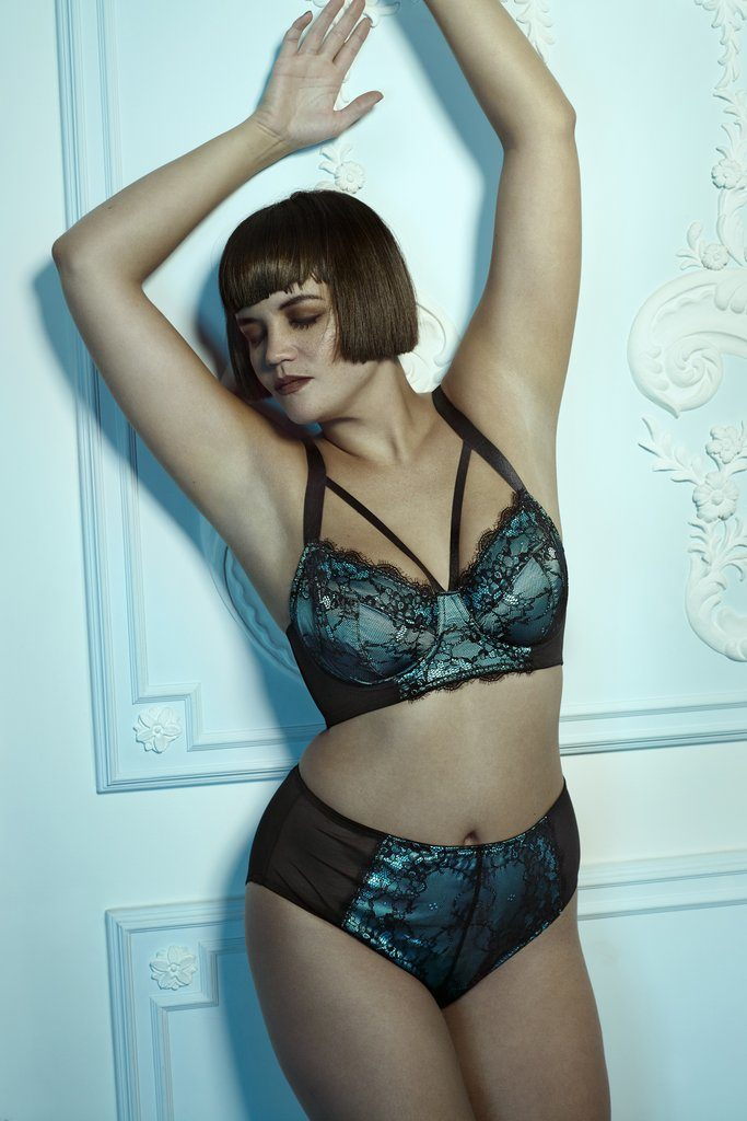 Playful Promises Irena Teal Satin & Lace Harness Bra, $39, 32-38 DD-H (UK)