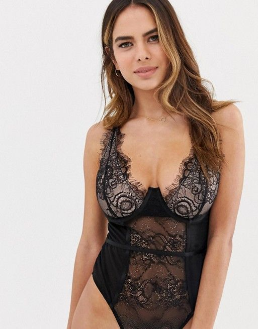 Wolf & Whistle Fuller Bust Exposed Wire High Apex Lace Bodysuit, $48, 32-36 B-G (UK)