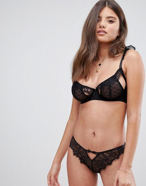 Wolf & Whistle Fuller Bust Heart Mesh and Lace Cutout Bra, $42, 32-36 B-G (UK)