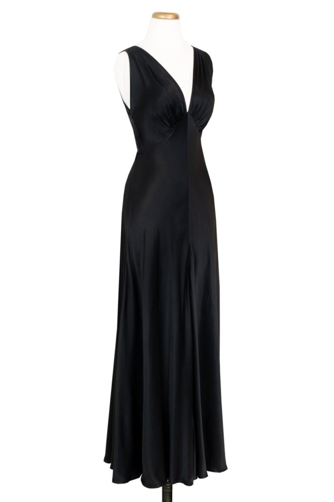 Trashy Diva 1930s Bias Gown, also in blue satin and emerald burnout velvet