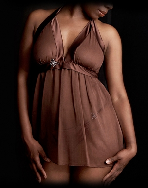 Silk Chiffon and Charmeuse Halter Babydoll by Bijte.  Available in sizes Small (Plus) through Large (Plus).
